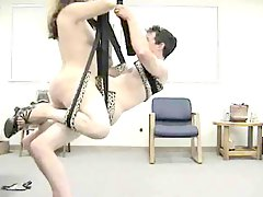 Horny amateur couple use sex swing