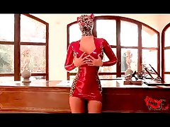 Kinky in tight red latex dress and hood