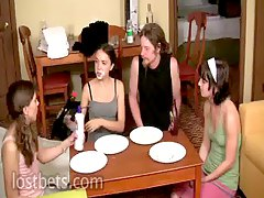 Lily,Elise,Amber and Sean Pie Eating Contest part I