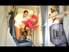Hot stewardess anal sex on a plane