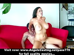 Stunning lovely brunette girl with fake tits fucking