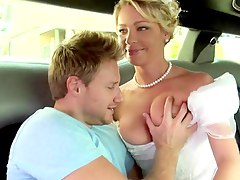 Bride in white beautiful dress gets fucked Stepphanie