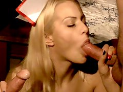 Naughty nurse tastes two old cocks