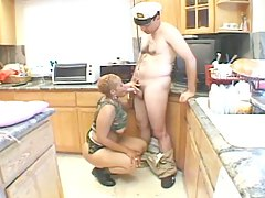 Horny ebony in military uniform
