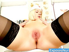 Blonde babe loves exploring her sweet pink pussy
