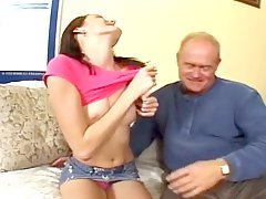 Grandpa fucks horny slut on the bed