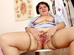 old fat nurse satisfying herself at work Fany X