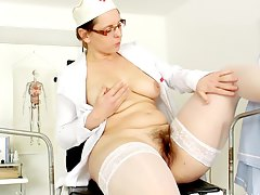 sexy nurse with nice body masturbating at work Helga